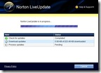 Norton LiveUpdate downloading